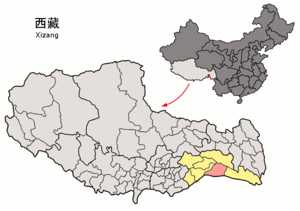 Mêdog County - Image: Location of Mêdog within Xizang (China)