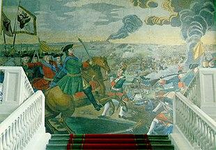 Slaget ved Poltava - Peter den Store et udsnit af den store mosaik af Mikhail Lomonosov