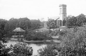 Longwood (MBTA station) - Sears Chapel and the 1893-built Longwood station shortly after its construction