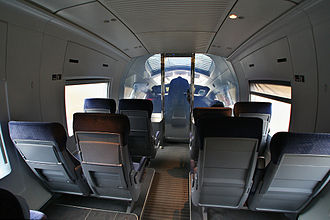 ICE 3 - Interior view showing smart glass separating driver's cab
