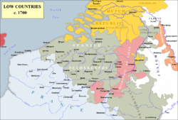 Spanish Netherlands (grey) in 1700