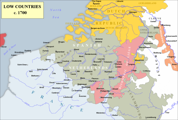 Map of the Low Countries during the War of the Spanish Succession. The village of Ramillies lies near the Mehaigne, a tributary of the Meuse Low Countries 1700.png