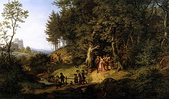 Adrian Ludwig Richter - Bridal Procession in a Spring Landscape (1847)