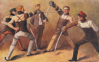 Duel - German students of a Burschenschaft fighting a sabre duel, around 1900, painting by Georg Mühlberg (1863–1925)