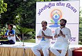 M. Venkaiah Naidu performing Yoga with the Minister of State for Urban Development, Housing and Urban Poverty Alleviation, Shri Babul Supriyo, on the occasion of the 2nd International Day of Yoga – 2016, at Nirman Bhavan.jpg