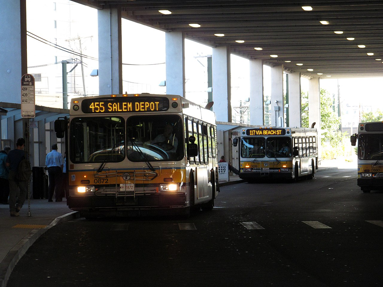 File Mbta Route 117 And 455 Buses At Wonderland Busway