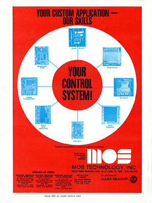 MOS Technology 6502 - A 1973 MOS Technology advertisement highlighting their custom integrated circuit capabilities.