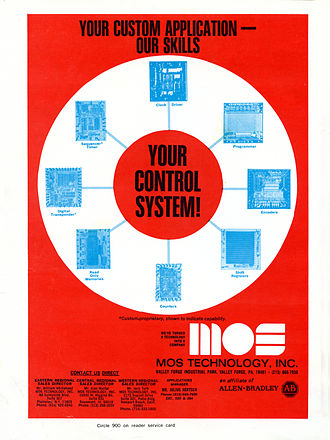 MOS Technology 6502 - A 1973 MOS Technology advertisement highlighting their custom integrated circuit capabilities