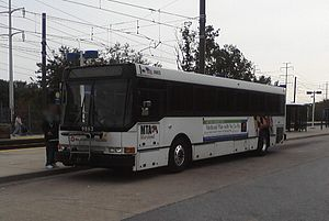 Patapsco station - An MTA Maryland bus at Patapsco station in 2010