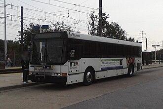 Patapsco station - An MTA Maryland bus at Patapsco station in 2010