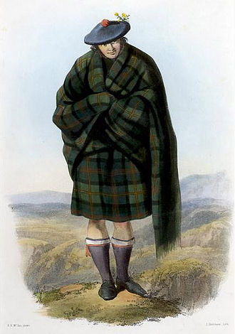 Clan badge - A Victorian era, romantic depiction of a Highlander, clothed in a belted plaid, by R. R. McIan. The Highlander depicted is a MacLennan, who is wearing a sprig of furze as his clan badge.