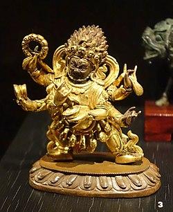 Mahakala, China, Qing dynasty, 1700s AD, gilded bronze - Östasiatiska museet, Stockholm - DSC09609.JPG