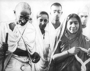 Salt March - Mahatma Gandhi and Sarojini Naidu during the March.