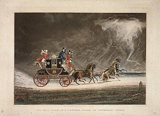 Mail coach - Print of painting by James Pollard showing a mail coach decorated in black and scarlet Royal Mail livery near Newmarket, Suffolk in 1827. Guard can be seen standing at rear