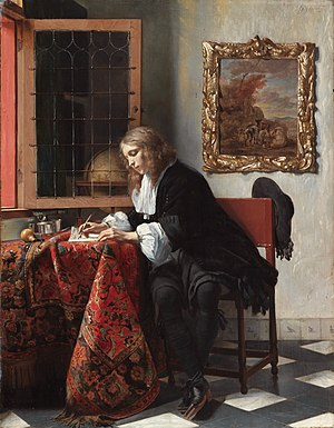 Gabriël Metsu - Man Writing a Letter (1662-1665), Oil on canvas, National Gallery of Ireland, Dublin