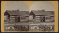 Man standing in front of his cabin, in or near Wevertown, N.Y, by M. A. Morehouse.png