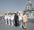 Manohar Parrikar at the commissioning ceremony of the INS Kochi , at Naval Dockyard, in Mumbai on September 30, 2015. The Chief of Naval Staff, Admiral R.K. Dhowan and other dignitaries are also seen.jpg