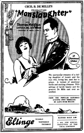 Manslaughter (1922 film) - Newspaper ad for the film.