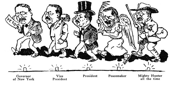 1910 cartoon shows Roosevelt's multiple roles from 1899 to 1910 Many Roles of Theodore Roosevelt.JPG