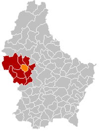 Map of Luxembourg with Préizerdaul highlighted in orange, the district in dark grey, and the canton in dark red