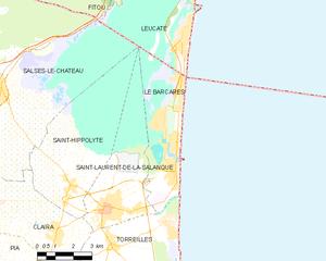 Le Barcarès - Map of Le Barcarès and its surrounding communes