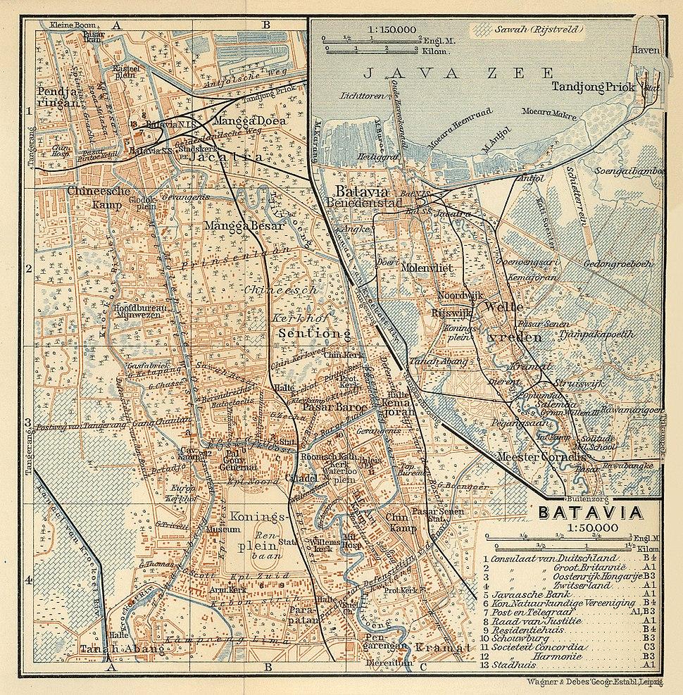Map of Batavia (Baedeker, 1914)