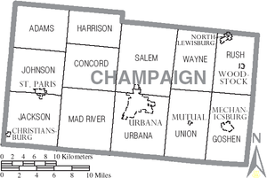 Champaign County, Ohio - Map of Champaign County, Ohio with Municipal and Township Labels