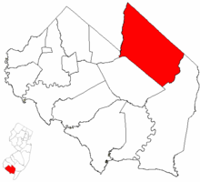 Map of Vineland in Cumberland County. Inset: Location of Cumberland County highlighted in the State of New Jersey.