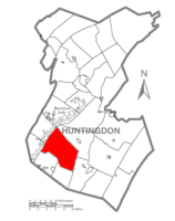 Map of Huntingdon County, Pennsylvania Highlighting Todd Township