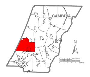 Jackson Township, Cambria County, Pennsylvania - Image: Map of Jackson Township, Cambria County, Pennsylvania Highlighted