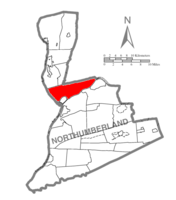 Map of Northumberland County, Pennsylvania highlighting Point Township