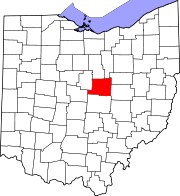 Map of Ohio highlighting Knox County