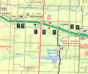 Cedar Bluff Reservoir - Image: Map of Trego Co, Ks, USA