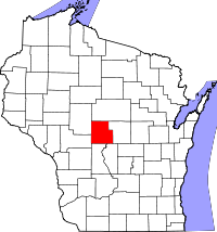 Map of Wisconsin highlighting Wood County
