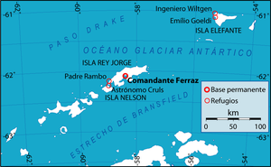 Comandante Ferraz Antarctic Station - Location of the station and its nearby shelters