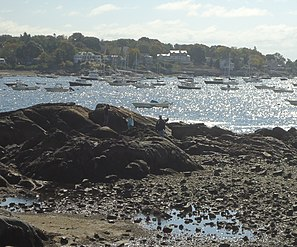 Marblehead Massachusetts view from town towards harbor and peninsula