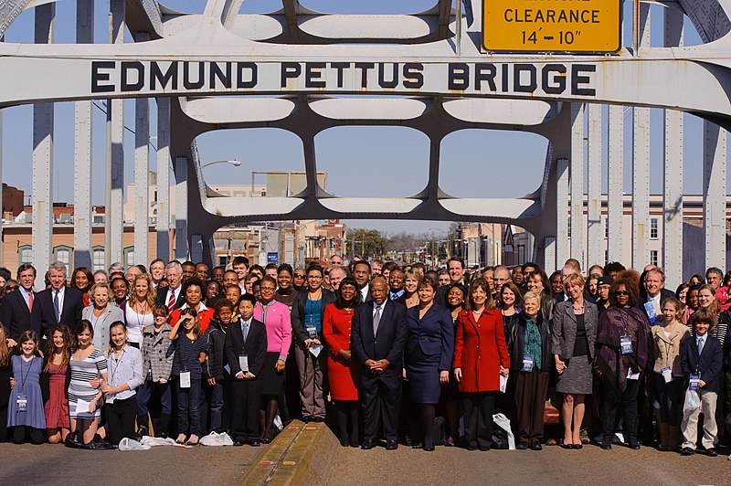 File:March 4, 2012 Administrator Jackson and community leaders complete the crossing of the Edmund Pettus Bridge in Selma, Alabama (6851045804).jpg