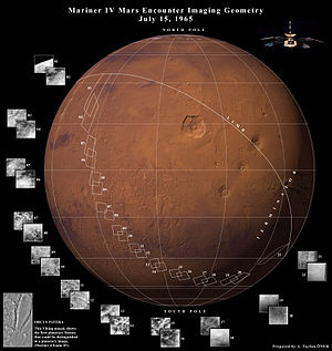 Mars flyby - Data collected from Mariner 4's flyby on a modern map