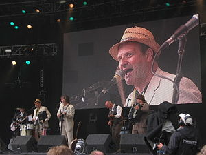 Mark Radcliffe - Radcliffe as DJ Mahone at the Cropredy music festival 2008