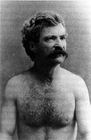 Mark Twain, Shirtless. A human male with body hair.