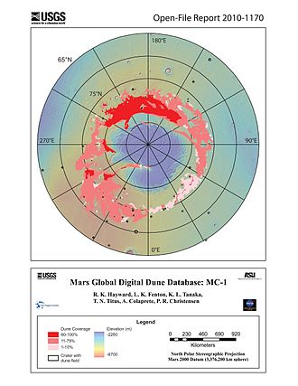 Olympia Undae - Mars Global Digital Dune Database MC-1 map showing the North Polar Sand Sea. Olympia Undae is the area with dune coverage between 120° to 240°E longitude.