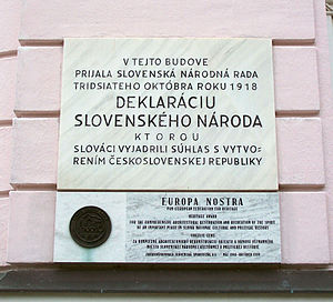 Martin Declaration - Memorial plaque to the Declaration of the Slovak Nation in Martin, Slovakia