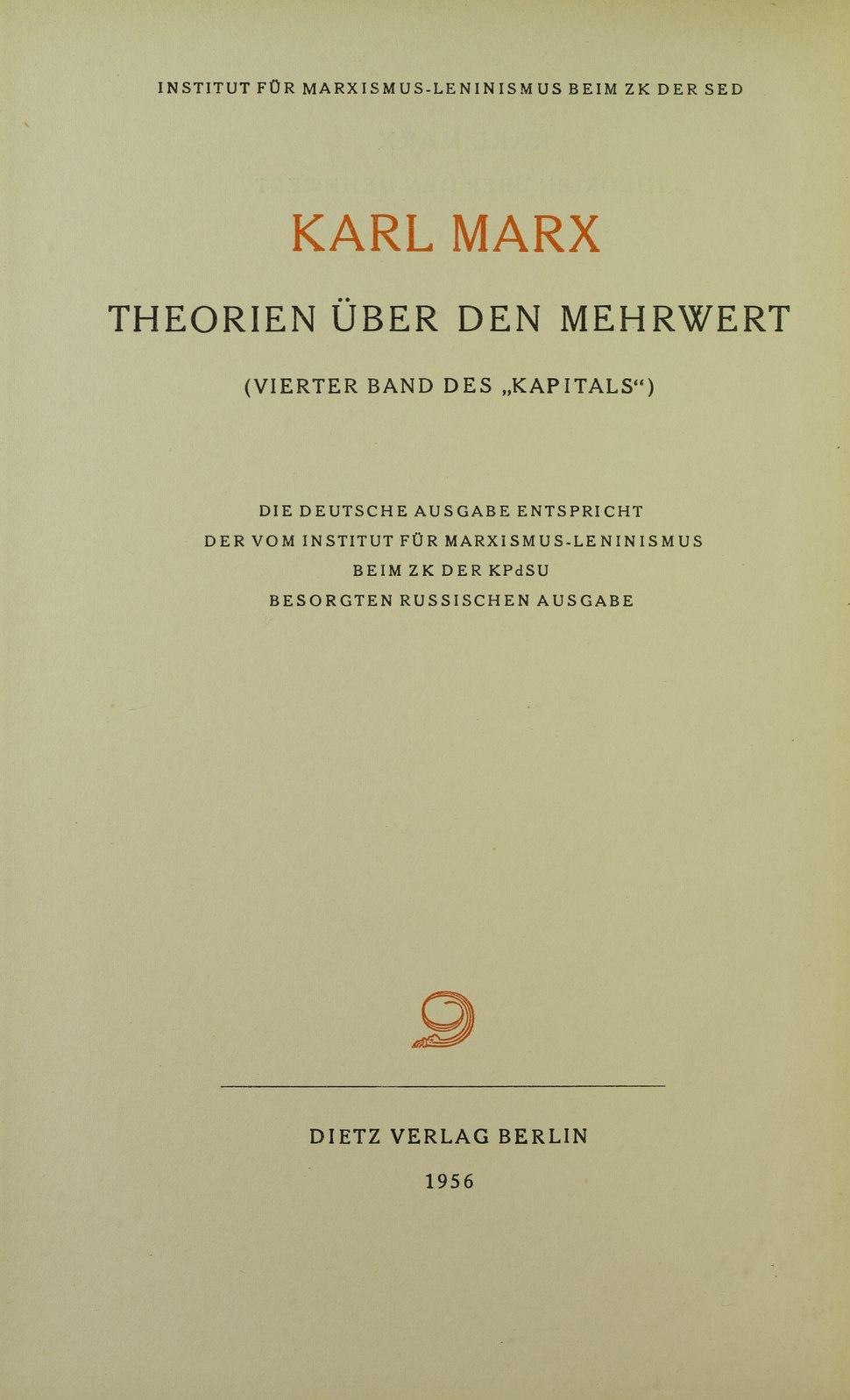 Marx - Theorien über den Mehrwert, 1956 - 5708926