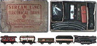 Toy train - An O gauge Marx toy train set made in the late 1940s or early 1950s