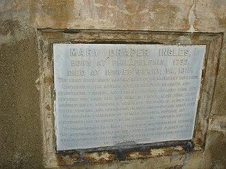 Mary Draper Ingles - Plaque on the chimney stone memorial of Mary Draper Ingles in the West End Cemetery in Radford, VA.