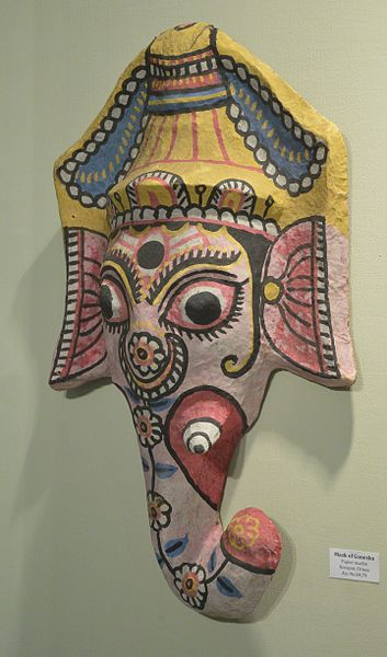File:Mask of Ganesha - Papier Mache - Koraput - ACCN 84-79 - Indian Museum - Kolkata 2015-09-26 3917.JPG