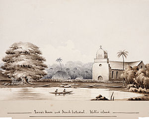 Cathedral of Our Lady of the Assumption, Mata-Utu - View of earlier cathedral, in 1862