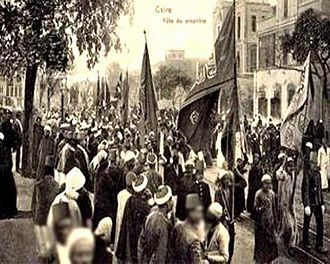 Mawlid - Mawlid an-Nabi procession at Boulac Avenue in 1904 at Cairo, Egypt.