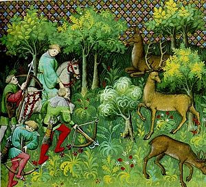 Charter of the Forest - A medieval forest, from Livre de chasse (1387) by Gaston III, Count of Foix.