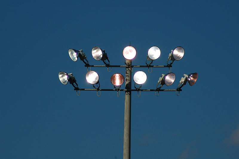 Metal halide lamps at a baseball field; public domain by its author, Mg rotc2487